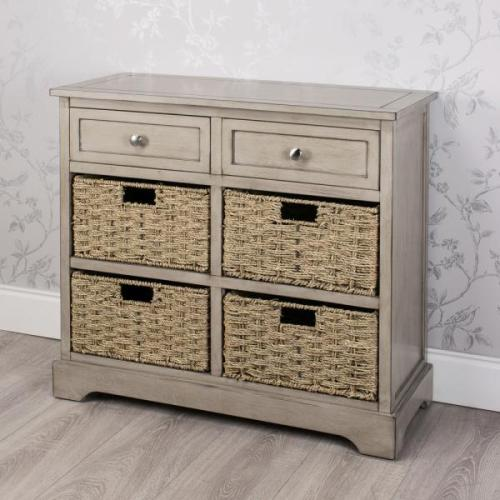 Oyster Grey 2 Drawer 4 Basket Storage Unit