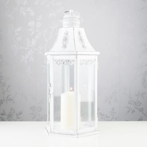 Vienna Hexagonal Lantern, 49cm, Antique White