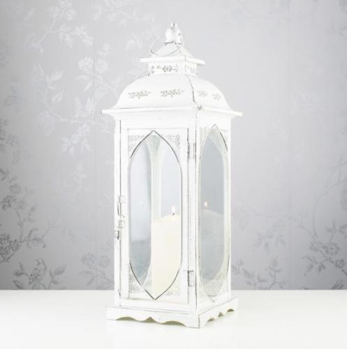 Linz Square Lantern, 48cm, Antique White