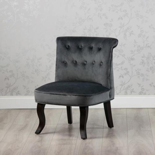 Aletta Accent Smooth Velvet Chair, Charcoal