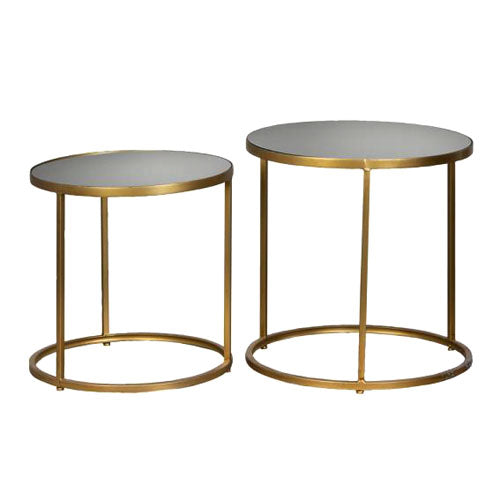 AVERY ROUND MIRRORED SIDE TABLES, SET OF 2, GOLD