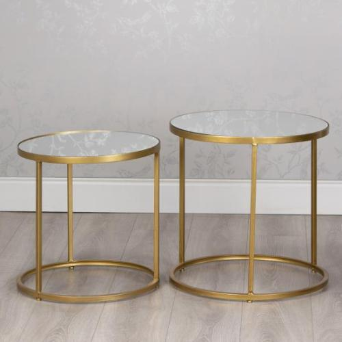 AVERY ROUND SIDE TABLES WITH MIRROR, SET OF 2