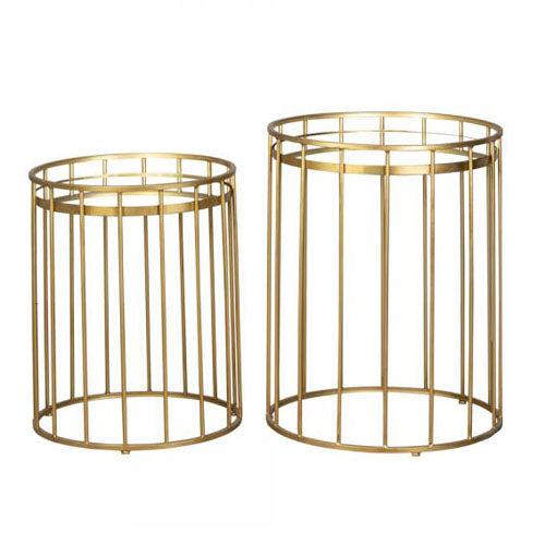 CAGE ROUND SIDE TABLE WITH MIRROR TOP, LARGE, GOLD