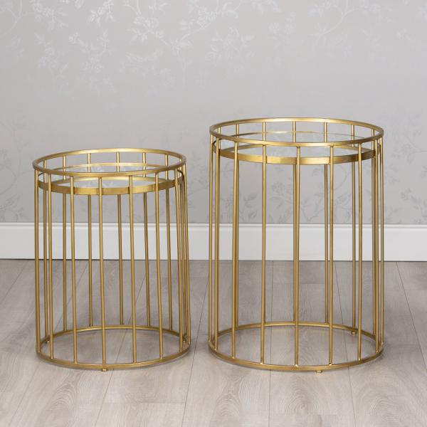 CAGE ROUND SIDE TABLE WITH MIRROR TOP, SMALL, GOLD
