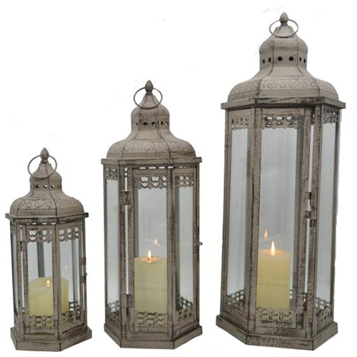 Melissa Lantern, Antique Grey, 36cm, Small