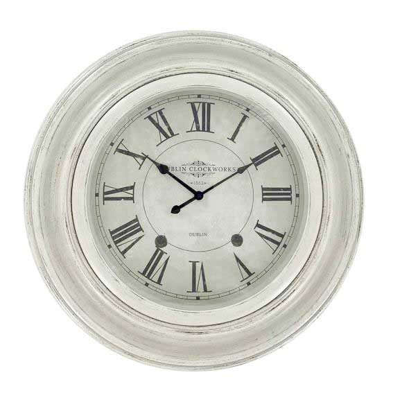Dublin Clockworks Clock, 66cm, Antique White