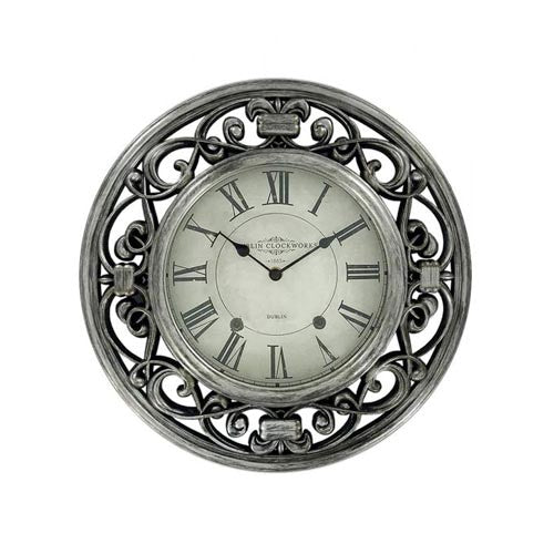Dublin Clockworks Ornate Clock, 41cm, Pewter