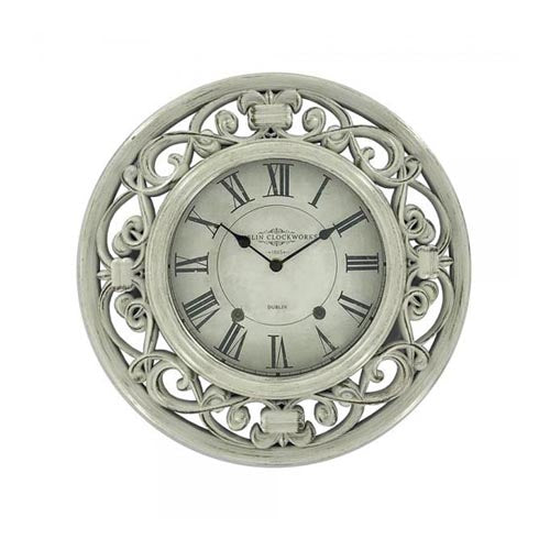Dublin Clockworks Ornate Clock, 41cm, Antique White