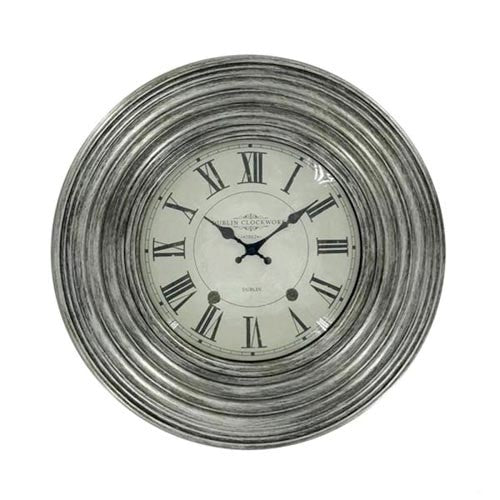 Dublin Clockworks Ridges Clock, 46cm, Antique Silver