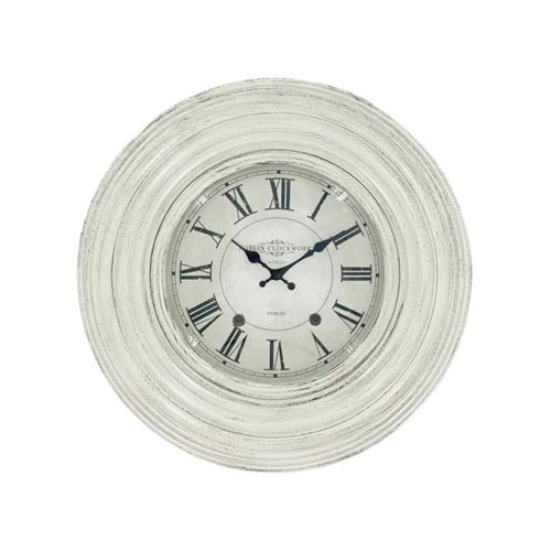 Dublin Clockworks Ridges Clock, 46cm, Antique White