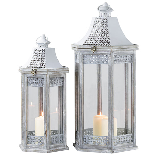OXFORD HEXAGONAL LANTERN, GREY, LARGE**DUE SOON**