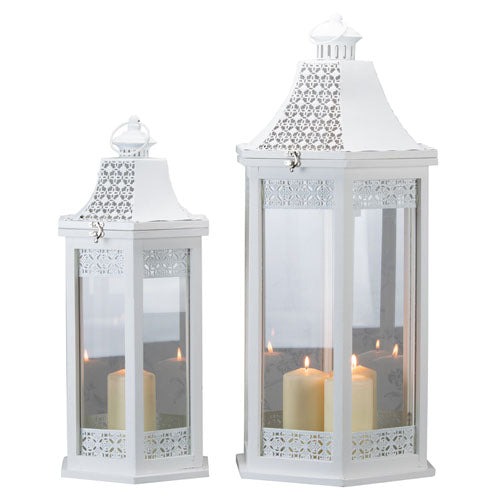 Oxford Hexagonal Lantern, White, Large**DUE SOON**