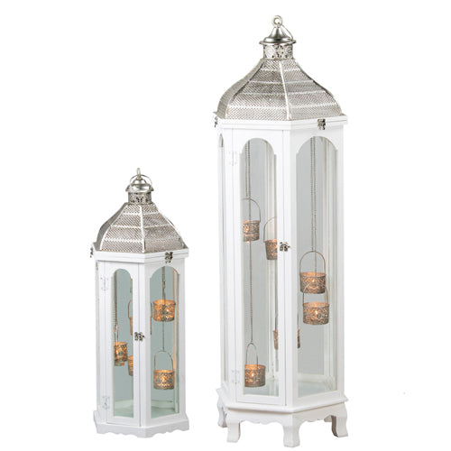 Agadir Hexagonal Lantern, 118cm, White**DUE FEBRUARY**