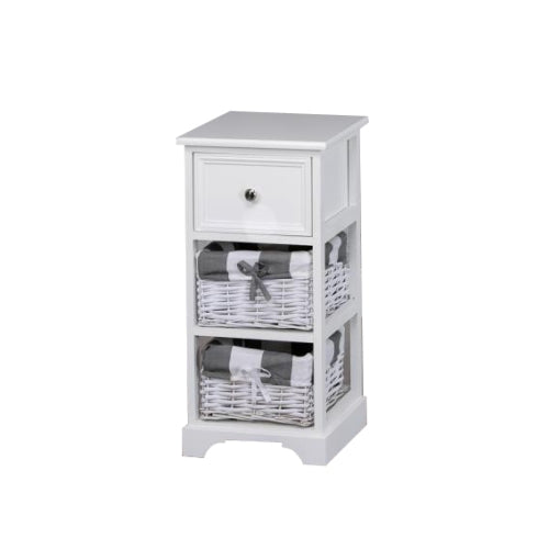 Boston 1 Drawer 2 Basket Storage Unit, White**Due Soon**