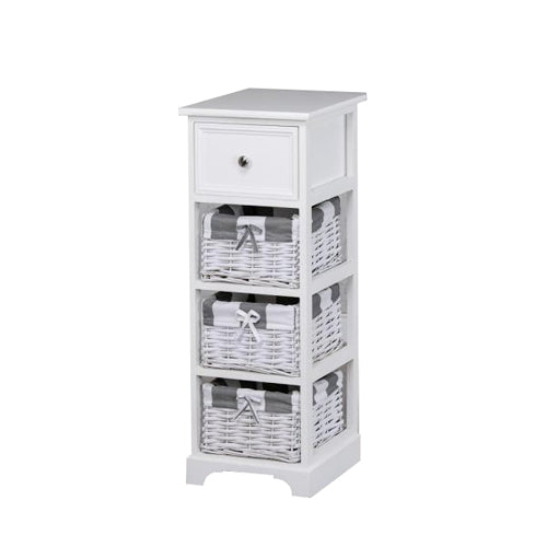 Boston 1 Drawer 3 Basket Storage Unit, White**Due Soon**