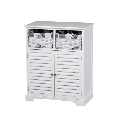 Weston 2 Door 2  Basket Storage Cabinet, White