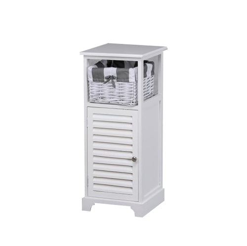 Boston 1 Door 1  Basket Storage Cabinet, White