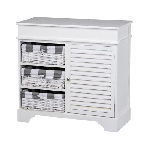 Weston 1 Door 3  Basket Storage Cabinet, White