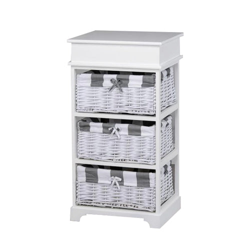 Boston 3 Basket Storage Unit, White