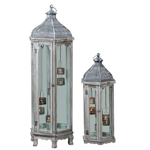 Agadir Hexagonal Lantern, 75cm, Grey**DUE FEBRUARY**