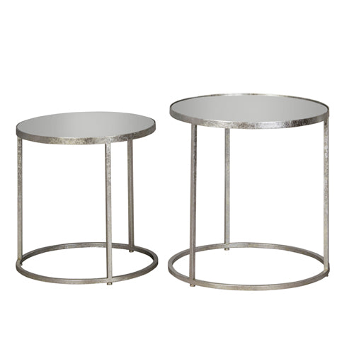 AVERY ROUND MIRRORED SIDE TABLES, SET OF 2, SILVER