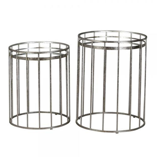 CAGE ROUND SIDE TABLE WITH MIRROR TOP, SMALL, SILVER