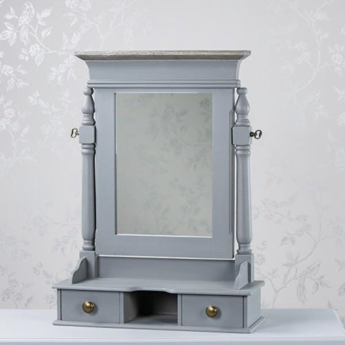 Hampton Vanity Mirror With Drawers, Grey