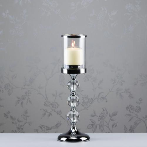 RITZ CRYSTAL ETCHED CHROME CANDLEHOLDER, 43CM
