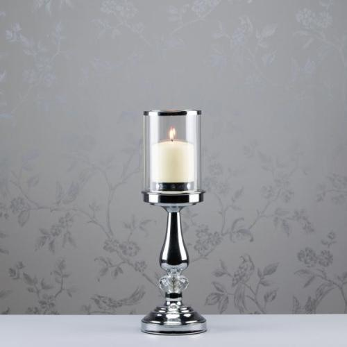 RITZ SINGLE CRYSTAL CHROME CANDLEHOLDER, 38CM