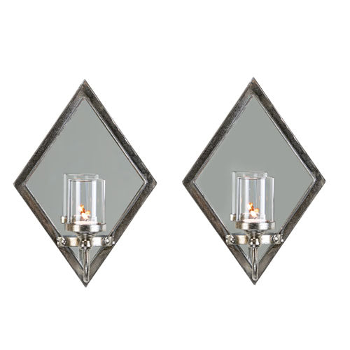 Antique Silver Diamond Wall Sconce, Set Of 2