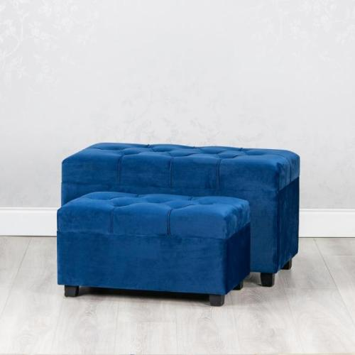 Crushed Velvet Storage Trunk, Royal Blue, Large