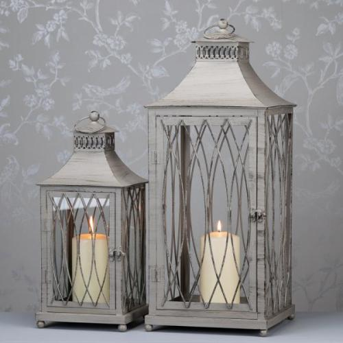 Waves Antique Grey Lantern, Large