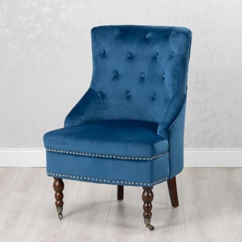 Torino Accent Velvet Chair, Royal Blue