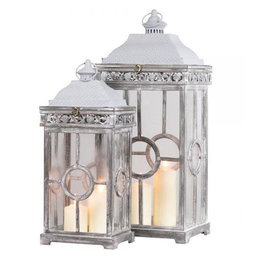 CAMBRIDGE LANTERN, ANTIQUE GREY, SMALL**DUE MARCH**