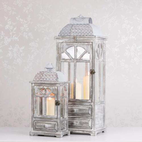 CHESTER WINDOW LANTERNS WITH DRAWERS, GREY, SMALL
