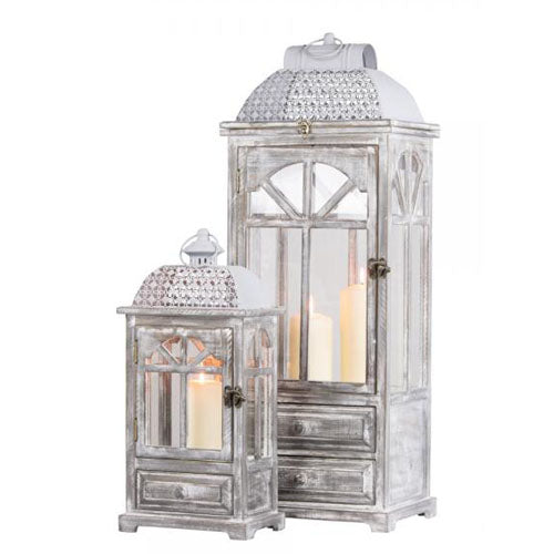 CHESTER WINDOW LANTERNS WITH DRAWERS, GREY, LARGE**DUE SOON**