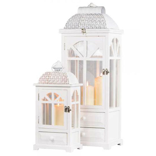 CHESTER WINDOW LANTERNS WITH DRAWERS, WHITE, SMALL**DUE SOON**
