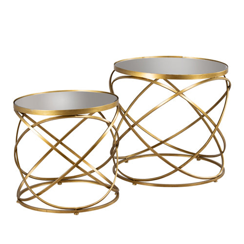 Spirals Side Table With Mirror Top, Gold, Set Of 2