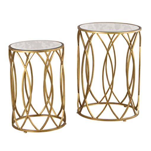 WAVES SIDE TABLES ANTIQUE MIRROR TOP, GOLD, SET OF 2