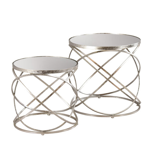 Spirals Side Table With Mirror Top, Small, Silver