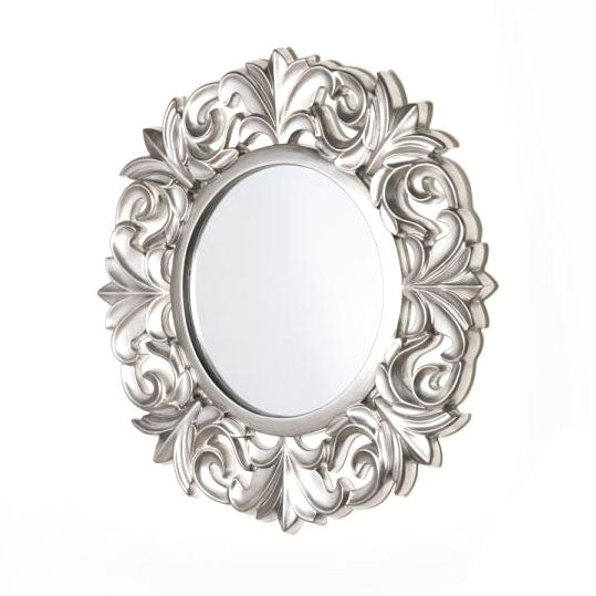 Abbey Round Ornate Mirror, 102cm, Antique Silver**COLLECT IN STORE ONLY**LOW STOCK**