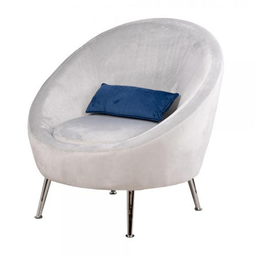 Bella Velvet Bucket Chair With Cushion, Grey**LOW STOCK**