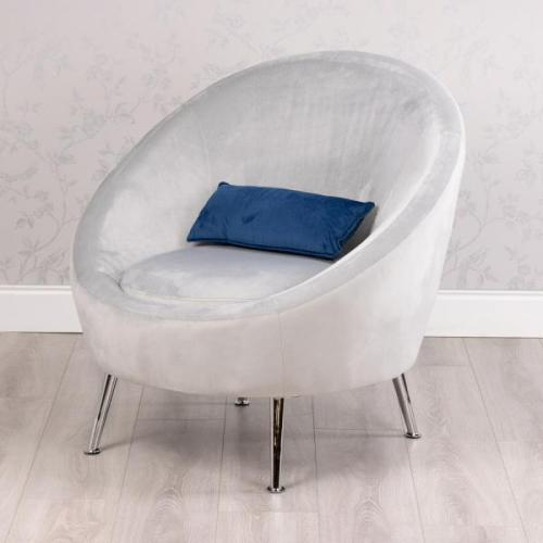 Bella Velvet Bucket Chair With Cushion, Grey**LIMITED STOCK**