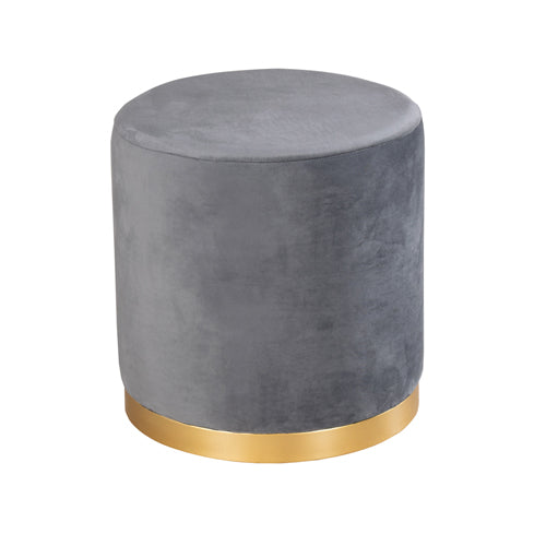 SMOOTH VELVET GOLD RIMMED STOOL, Charcoal Grey