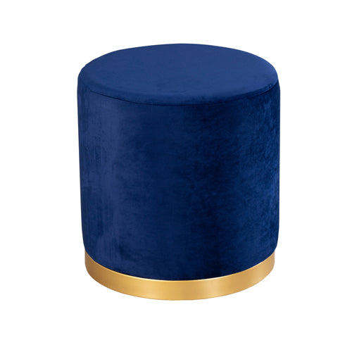 SMOOTH VELVET GOLD RIMMED STOOL, ROYAL BLUE