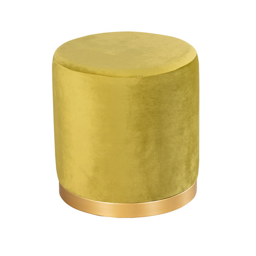 SMOOTH VELVET GOLD RIMMED STOOL, Mustard