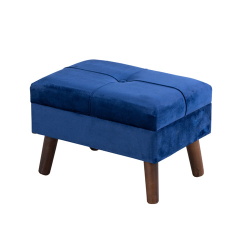 SMOOTH VELVET FOOT STOOL, ROYAL BLUE