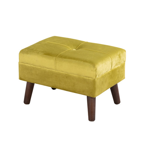 SMOOTH VELVET FOOT STOOL, Mustard