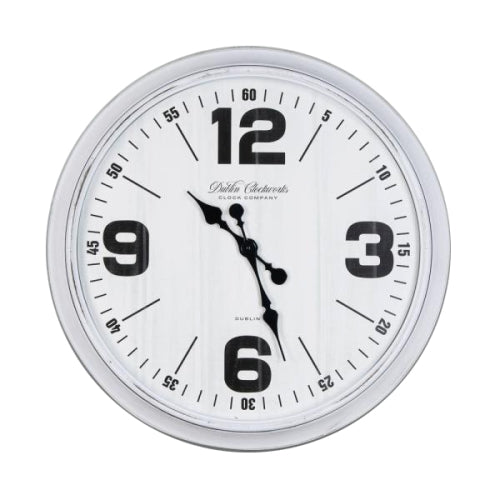 RETRO OVERSIZE WALL CLOCK 76CM, ANTIQUE WHITE