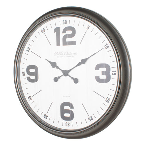 RETRO OVERSIZE WALL CLOCK 76CM, ANTIQUE SILVER